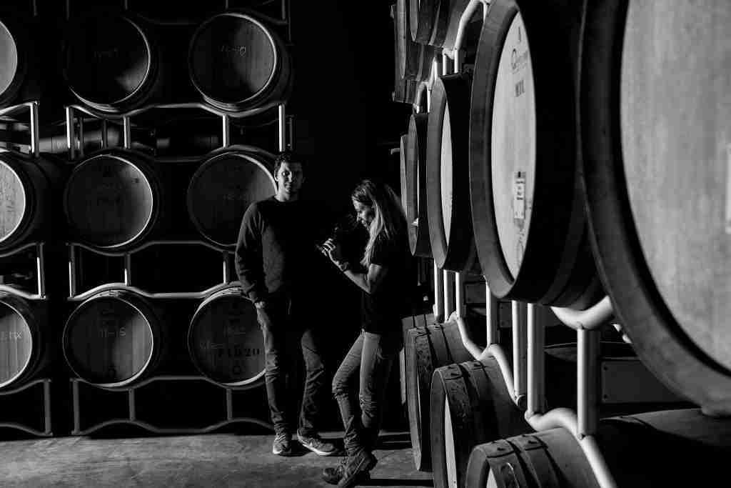 Ambrogio Cremona Ratti Elena Pozzolini in the cellar BW